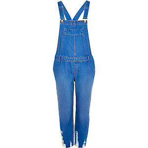 Blue denim ripped hem slim overalls