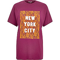 Pink lace New York print oversized t-shirt
