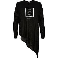 Black I want it now slogan asymmetric top