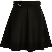Black jersey belted skater skirt
