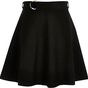 Black jersey belted skater skirt