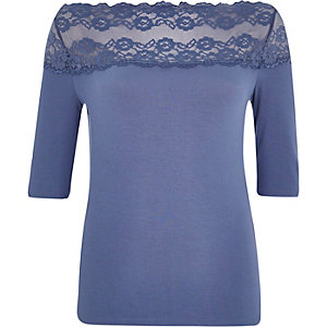 Dark blue lace bardot top