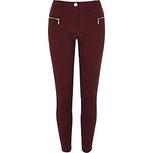 Red twill zip skinny pants