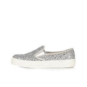 Silver glittery plimsolls