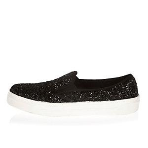 Black glittery slip on plimsolls