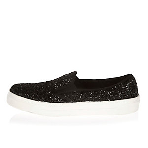 Black glittery slip on plimsolls