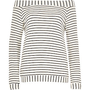 Cream stripe bardot top