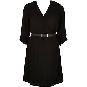 Black wrapped belted shirt dress