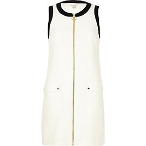 Cream zip-up shift dress