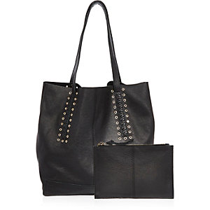 Black leather eyelet tote handbag