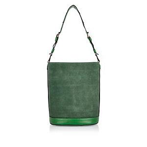 Green suede bucket handbag