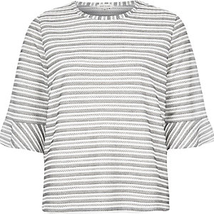 White striped wide sleeve top