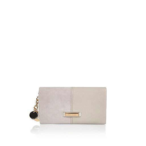 Light grey split soft foldover purse