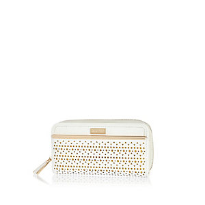 White laser cut purse