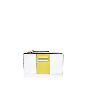 White yellow fold out purse
