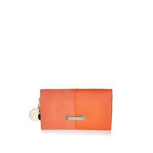 Orange split soft foldover purse