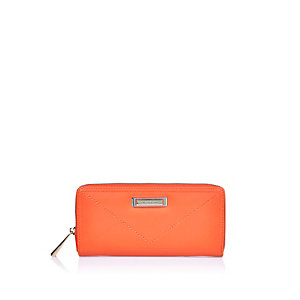 Orange zip around purse