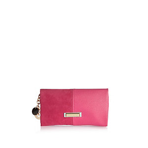 Pink split soft foldover purse