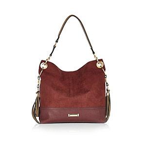 Red tassel side slouchy handbag