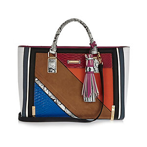 Orange snake print panel tote handbag