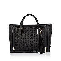 Black whipstitch panel tote handbag