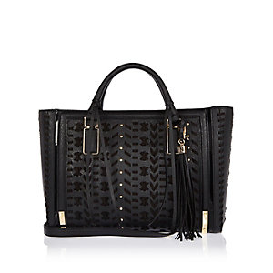Black whipstitch panel tote handbag