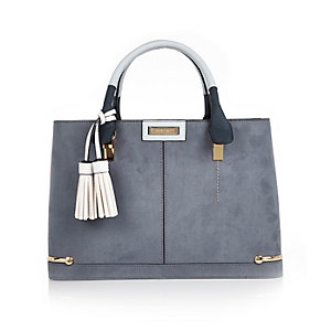 Light blue structured tote bag