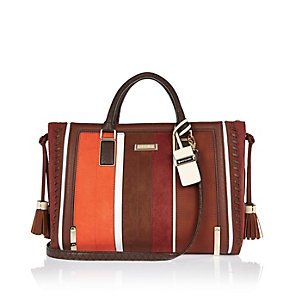 Red stripe whipstitch tote handbag
