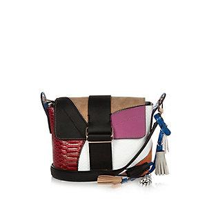 Pink patchwork cross body handbag