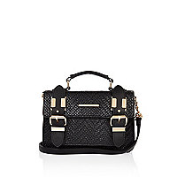 Black embossed mini satchel