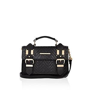 Black embossed mini satchel