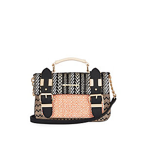 Light brown weave mini satchel