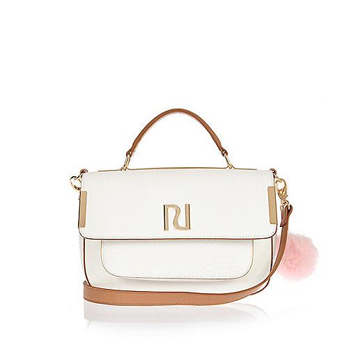 White pom pom satchel bag