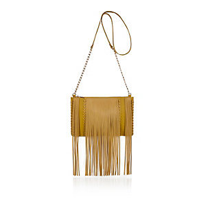 Yellow fringed cross body handbag