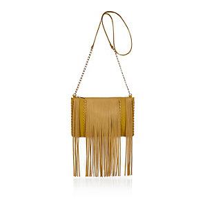Yellow fringed cross body handbag