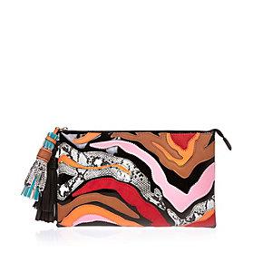 Black zebra print handbag
