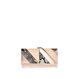 Pink snake print clip top purse