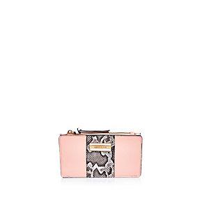 Pink snake panel print purse