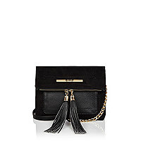 Black faux suede cross body handbag