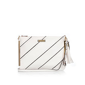White stripe cross body handbag