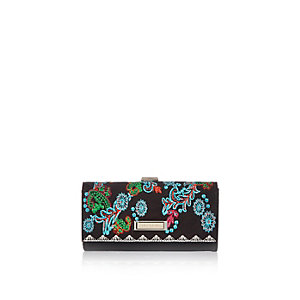 Black print embroidered purse