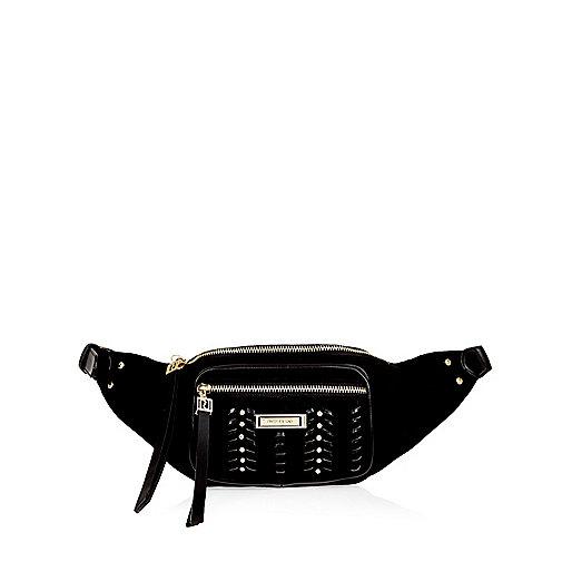 Black whipstitch bum bag