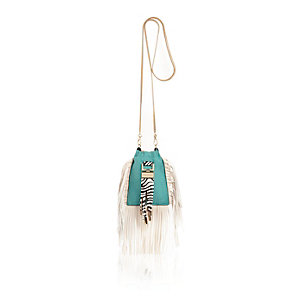 Green tassel mini cross body pouch bag