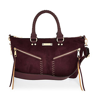Dark red mini tote bag