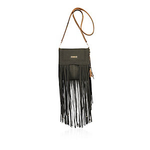 Khaki fringe cross body handbag
