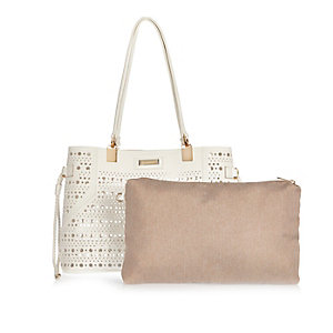 White laser cut beach bag