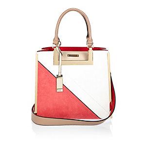 Red medium asymmetric tote handbag
