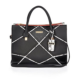 Black patchwork tote handbag