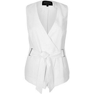 White belted waistcoat