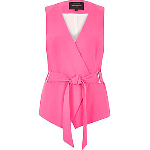 Bright pink belted waistcoat